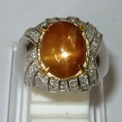 Vintage Sunstone Silver Ring 7US