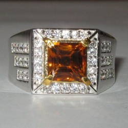 Estate Men's Madeira Citrine Silver Ring 10US