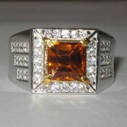 Estate Men's Madeira Citrine Silver Ring 10US