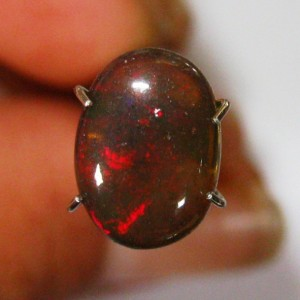 Batu Mulia Natural Opal Coklat 1.40 carat Oval Cab