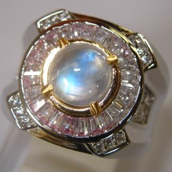 Round Moonstone Men's Ring 9US