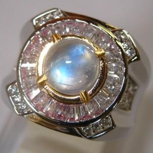 Cincin Round Blue Flash Moonstone Ring 9US Untuk Pria