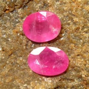 Oval Pinkish Ruby 2 Pcs 1.85 carat