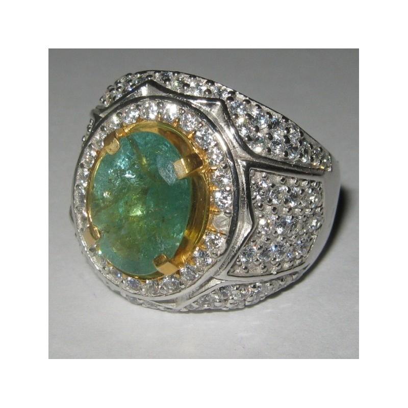 Cincin Batu Zamrud 2.72 Carat Ring 10.5 US Silver 925