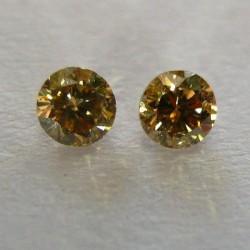 Berlian Kuning Keemasan 2 pcs 0.10 Carat
