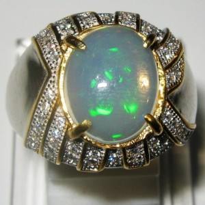 Cincin Opal Silver 925 Ring 8US untuk Pria Masa Kini