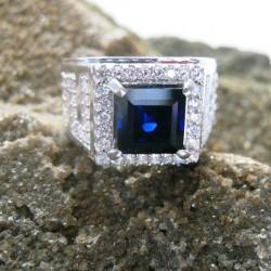 Silver 925 Safir Sintetis Ring 8.5US