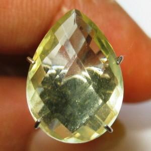 Batu Permata Lemon Quartz 4.45 carat Pear Buff Top