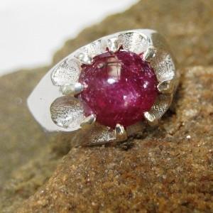Cincin Ruby Star Model Gypsy Solid Silver 925 Ring 9US