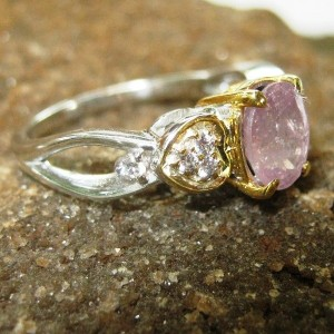 Cincin Pink Sapphire Silver Ring 7US