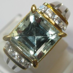 Cincin Aquamarine Silver 925 Ring 7US