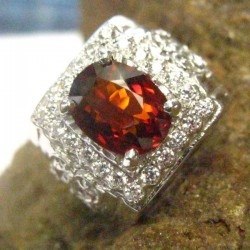 Cincin Pria Dark Orange Garnet 7.75US