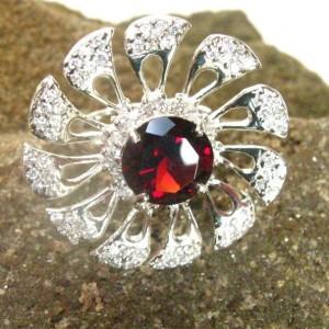 Cincin Silver Ring 6US Deep Garnet