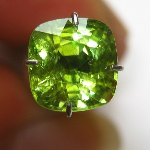 Olive Green Peridot Cushion 2.35 carat