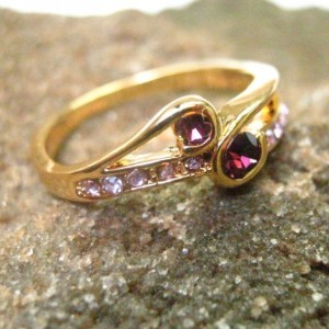 10K Yellow GF CZ Amethyst Ring 7.5US