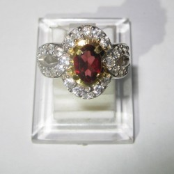 Cincin Garnet Silver 925 Ring 6US