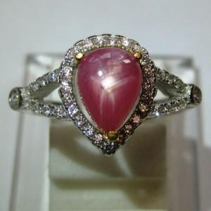 Cincin Pink Ruby Star Silver 925 Ring 6US Pear Shape