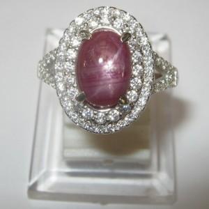 Elegant Star Ruby Silver Ring 7.5US