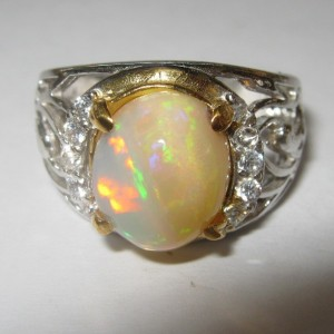 Rainbow Opal Silver Ring 7.5US