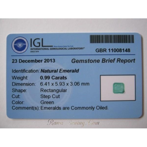Natural Emerald 0.99 cts keaslian terjamin!
