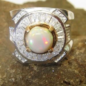 Rainbow Opal Silver Ring 9US