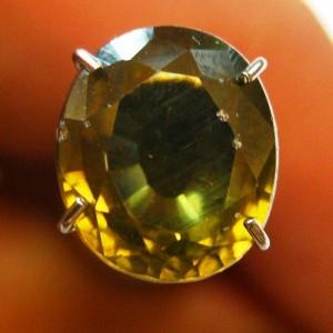 Greyish Greenish Yellow Zircon 3.13 carat