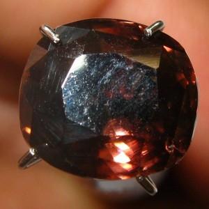 Pinkish Orange Cushion Zircon 4.41 carat