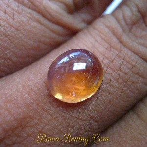 Tampak Depan Batu Permata Safir Kuning Bening Cabochon 4.75 carat