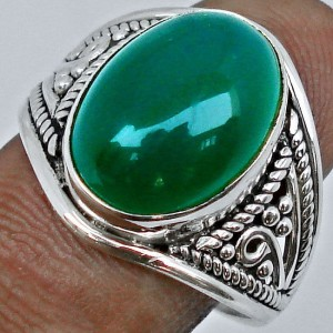 Cincin Green Chalcedony Ring 7.5 US