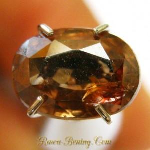 Jenis Batu Permata Asli Orangy Brown Oval Zircon 2.05 carat
