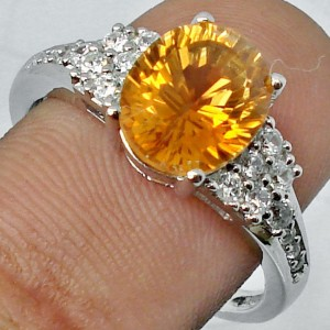 Cincin Silver Natural Citrine Ring 8 USA