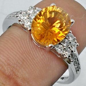 Cincin Silver Natural Citrine Ring 8 USA