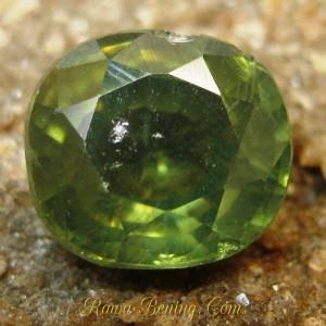 Batu Permata Cushion Greyish Green Zircon 2.84 carat