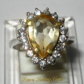 Citrine Pear Silver 925 Ring 6US