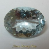 Batu Permata Aquamarine 2.20 carat Oval Cut Warna Verly Light Blue