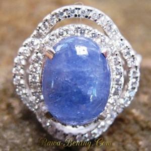 Cicnin Wanita Silver 925 Batu Tanzanite Ring 7.5 US