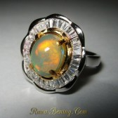 Flower Rainbow Opal Ring 6.5 US