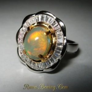 Model Cincin Flower untuk Wanita, Rainbow Opal Ring 6.5 US Art Fashion Ring