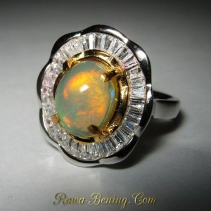 Model Cincin Flower untuk Wanita, Rainbow Opal Ring 6.5 US Art Fashion Ring