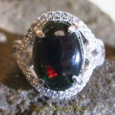 Woman Black Opal Silver Ring 7US