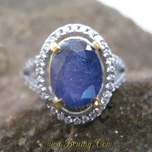 Cincin Batu Safir Asli untuk Wanita Silver Ring 6.5 US