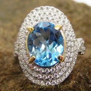 Cincin Swiss Blue Topaz Ring M (UK) untuk Istri Tersayang