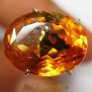 Batu Citrine Oval Cut 4.42 carat Bening Oranye Bercahaya Indah