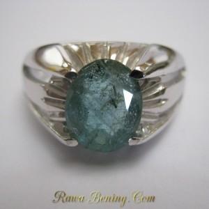 Cincin Silver Stamped 925 Ring 11 US Zamrud 2.20 Carat