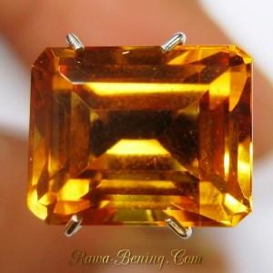Rectangular Citrine Orangy Yellow 3.79 carat Permata Kualitas Bagus