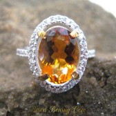 Cincin Citrine Oval Silver Ring 6.5US