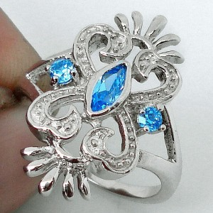 Cincin Natural Blue Topaz Ring 7US