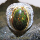 Black Opal Men's Silver Ring 7.5 US Jarong Hijau Hutan Matriks