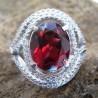 Cincin Wanita Exclusive : Red Pyrope Garnet Silver Ring 7 US