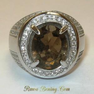 Cincin Pria Batu Permata Smoky Quartz Silver 925 Ukuran 7.5 US